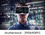 double exposure  man wearing... | Shutterstock . vector #390640891