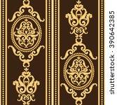 Seamless Damask Pattern. Gold...