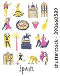 spain. landmarks and symbols... | Shutterstock .eps vector #390660589