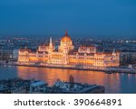 evening view of the hungarian... | Shutterstock . vector #390664891