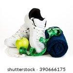fitness concept. weight loss... | Shutterstock . vector #390666175