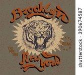 vector vintage label with tiger.... | Shutterstock .eps vector #390674587