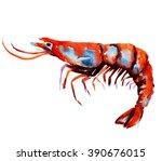 watercolor shrimp. sea food... | Shutterstock . vector #390676015