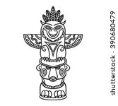 Doodle Traditional Tribal Totem Pole isolated on white background, coloring book. Black and white vector illustrations - stock vector
