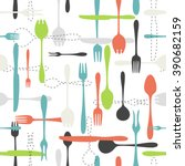 cutlery icon seamless pattern.... | Shutterstock .eps vector #390682159