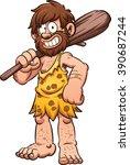 Cartoon Caveman Smiling And...