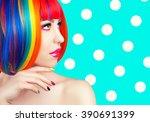 beautiful woman wearing... | Shutterstock . vector #390691399
