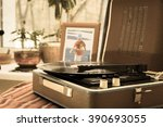 the vintage player of vinyl... | Shutterstock . vector #390693055