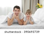 portrait of son and father... | Shutterstock . vector #390693739