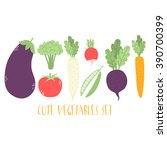 cute cartoon vegetables set.... | Shutterstock .eps vector #390700399