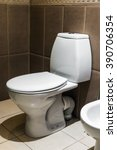 closeup of toilet. white... | Shutterstock . vector #390706354