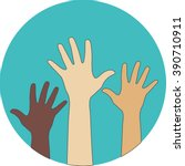 circle flat icon. hands raised... | Shutterstock . vector #390710911