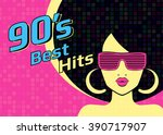 best hits of 90s illistration... | Shutterstock .eps vector #390717907