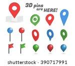 navigation pins 3d isometric... | Shutterstock .eps vector #390717991