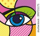pop art eyes vector... | Shutterstock .eps vector #390721171