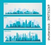 city skyline sets | Shutterstock .eps vector #390731269