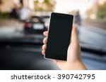 smart phone in hand with car... | Shutterstock . vector #390742795