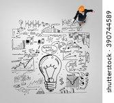 woman builder with megaphone | Shutterstock . vector #390744589