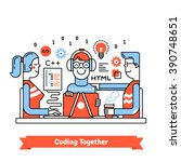 team of developers working... | Shutterstock .eps vector #390748651