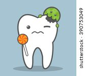 tooth with lollipop attacked by ... | Shutterstock .eps vector #390753049