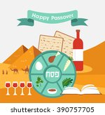 passover seder plate with flat... | Shutterstock .eps vector #390757705