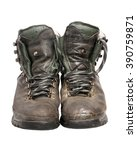 worn hiking boots | Shutterstock . vector #390759871
