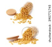 Small photo of Set of glass jar filled with dry rotini yellow pasta over isolated white background, different foreshortenings