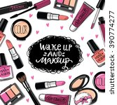 hand drawn cosmetics set. nail... | Shutterstock .eps vector #390774277