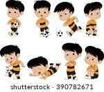 cartoon soccer kid with... | Shutterstock .eps vector #390782671