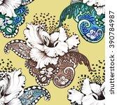 seamless floral felt tip pen... | Shutterstock . vector #390784987