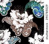 seamless floral felt tip pen... | Shutterstock . vector #390785029