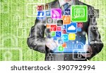 business man using tablet pc... | Shutterstock . vector #390792994