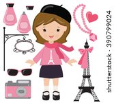 french girl vector illustration | Shutterstock .eps vector #390799024