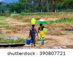 indian village women on the way ... | Shutterstock . vector #390807721