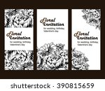 invitation with floral... | Shutterstock . vector #390815659
