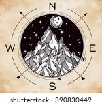 hand drawn mountain wind rose... | Shutterstock .eps vector #390830449