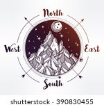 hand drawn mountain wind rose... | Shutterstock .eps vector #390830455