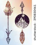 ethnic decorative arrows set.... | Shutterstock .eps vector #390830461