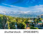 panoramic view of almaty city... | Shutterstock . vector #390838891