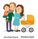 family with baby in stroller.... | Shutterstock .eps vector #390843385