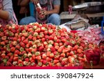 a lot of strawberry in the thai ... | Shutterstock . vector #390847924