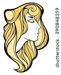 vector decorative portrait of... | Shutterstock .eps vector #390848359