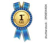 silver 1st place rosette  badge ... | Shutterstock .eps vector #390854404