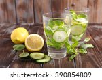 water detox with cucumber and...   Shutterstock . vector #390854809