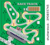 race track. view from above.... | Shutterstock .eps vector #390855745