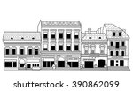 black abstract old buildings... | Shutterstock .eps vector #390862099