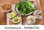 magnesium rich foods on  wooden ... | Shutterstock . vector #390864781