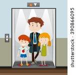 people using elevator going up... | Shutterstock .eps vector #390866095