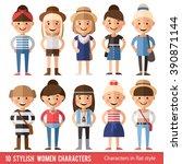 big set of characters in  flat... | Shutterstock .eps vector #390871144