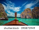 boat floats between rocks ... | Shutterstock . vector #390873949